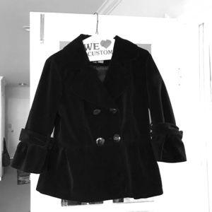 Black double breasted velvet jacket - sz L